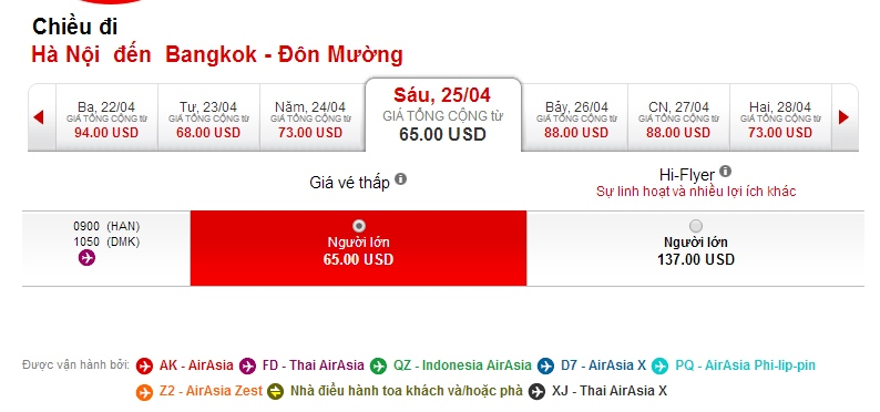 Vé máy bay giá rẻ đi Thái Lan