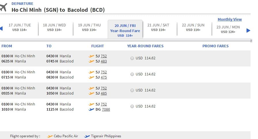 Vé máy bay đi Bacolod giá rẻ