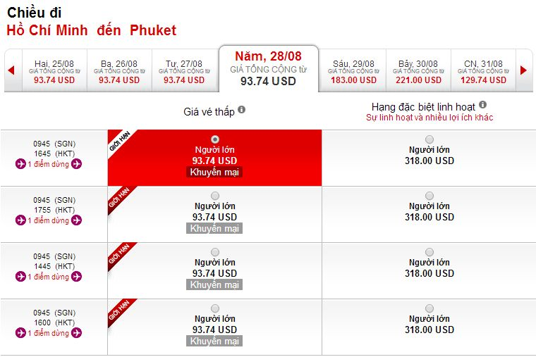 Vé máy bay Hà Nội đi Phuket