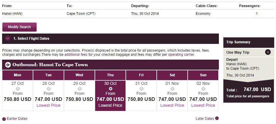 Vé máy bay Hà Nội đi Nam Phi giá rẻ
