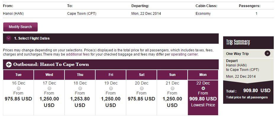 Vé máy bay Hồ Chí Minh đi Nam Phi giá rẻ
