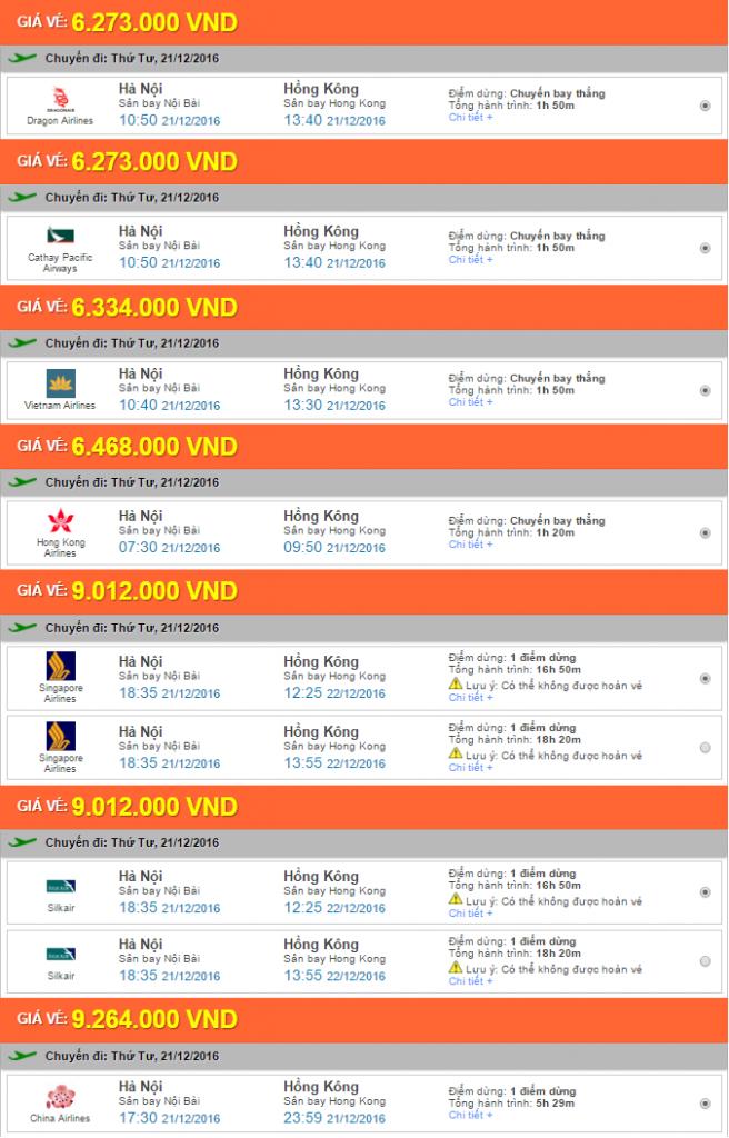 Giá vé máy bay chặng Hà Nội - Hong Kong tham khảo một số hãng hàng không giá rẻ
