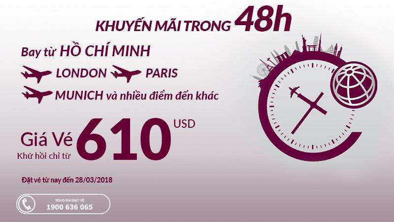 Khuyến mại 48 giờ của Qatar Airways