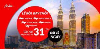 Air Asia khuyến mại vé một chiều từ 31 USD
