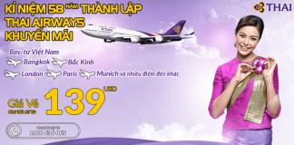 Đặt vé khứ hồi Thai Airways từ 139 USD