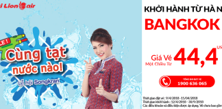 Thai Lion Air khuyến mại vé máy bay đi Bangkok từ 44 USD